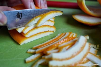 Επιδόρπιο πορτοκαλιού με ζελέ και καβουρδισμένα αμύγδαλα.
